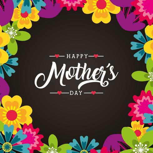 carte florale de fête des mères vecteur