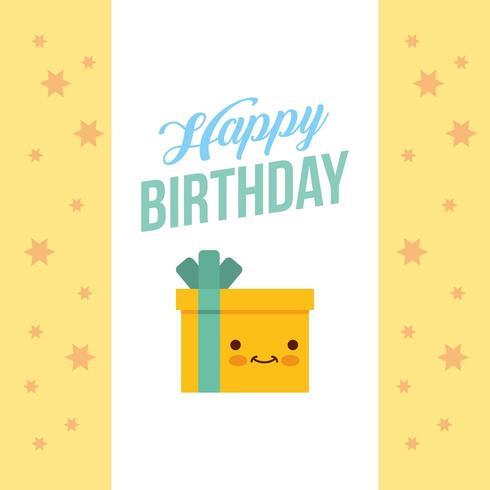 carte de joyeux anniversaire avec un cadeau kawaii vecteur