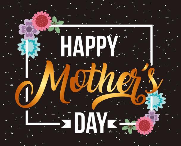 carte de fête des mères avec cadre blanc et accents de fleurs vecteur