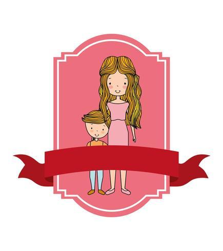 portrait, maman, fils, étiquette, bannière vecteur