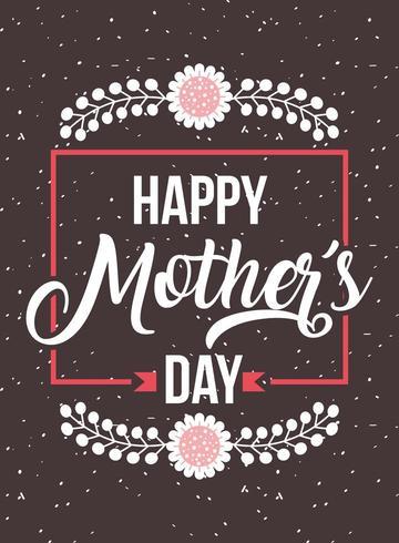 carte de fête des mères avec cadre et bordures florales vecteur