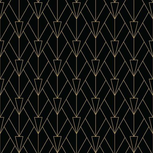 motif art déco simple noir et or vecteur