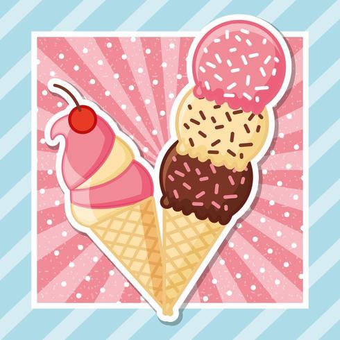 deux cornets de crème glacée sur ray et rayures vecteur