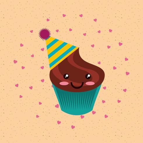 joyeux anniversaire cupcake au chocolat kawaii en chapeau de fête vecteur