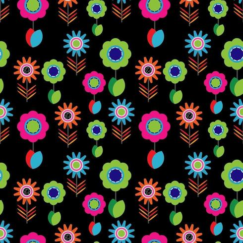 Motif de fleurs colorées lumineuses vecteur