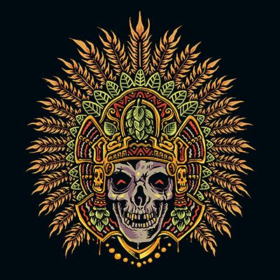 Main dessiner le crâne aztèque vecteur