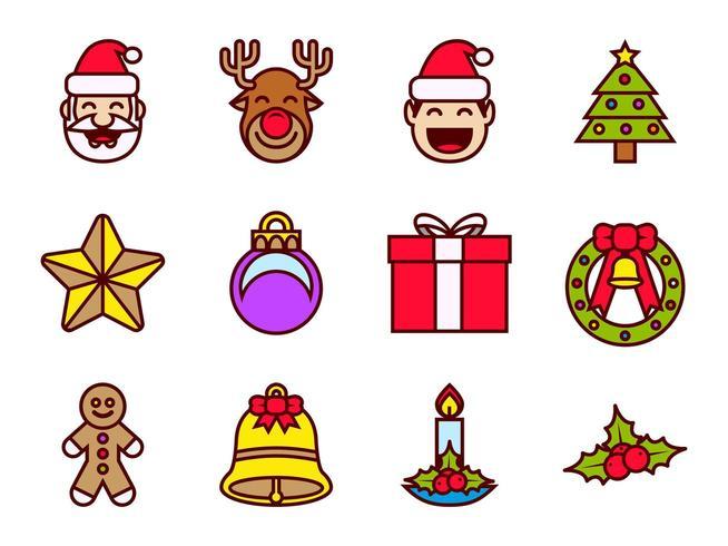 Jeu d'icônes de couleur de Noël vecteur