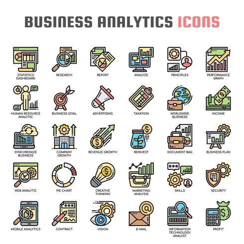 Business Analytics Thin Line et Pixel Perfect Icons vecteur