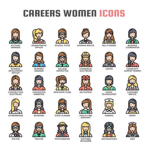 Carrières Femmes Thin Line Icons vecteur