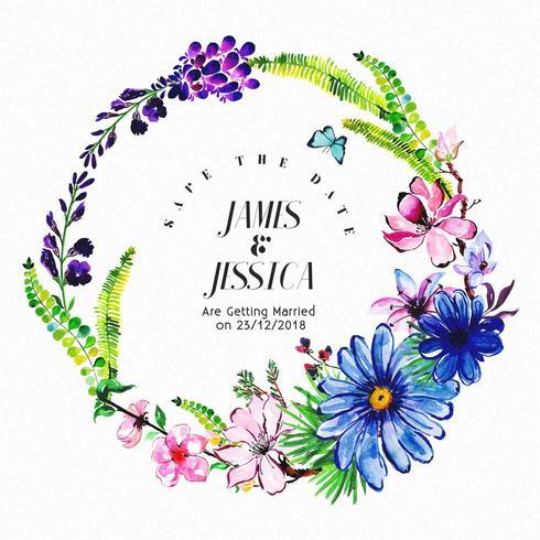 Invitation de mariage floral aquarelle coloré vecteur