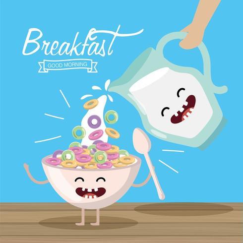 céréale heureuse avec une cuillère et un pot de lait vecteur