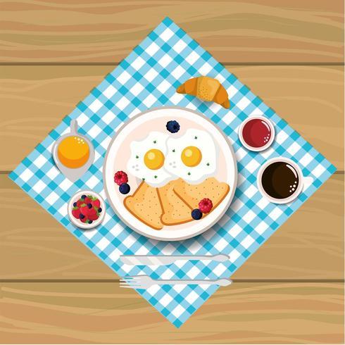 délicieux œufs au plat avec du pain tranché vecteur