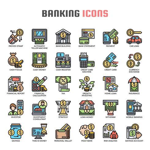 Icônes de la mince ligne bancaire vecteur