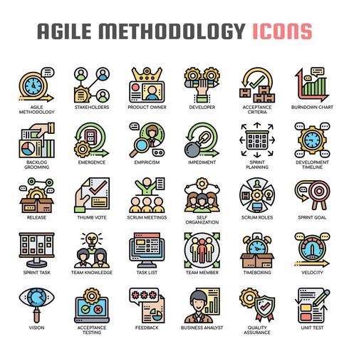Méthodologie Agile Icônes Fine Ligne vecteur