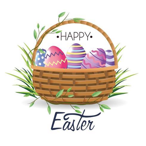 Joyeuses Pâques Pâques oeufs décoration à l'intérieur du panier avec de l'herbe vecteur