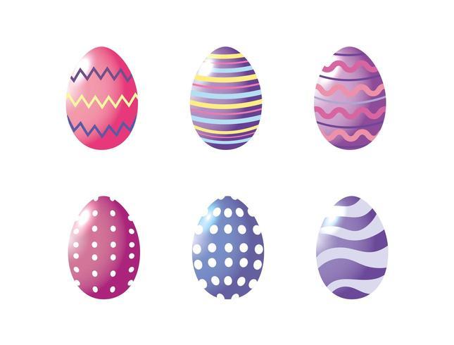 Joyeuses Pâques, réglez les œufs en décor de joyeuses fêtes de Pâques vecteur