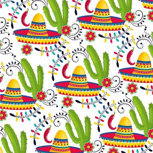 chapeau mexicain avec des plantes de cactus et fond de piments vecteur