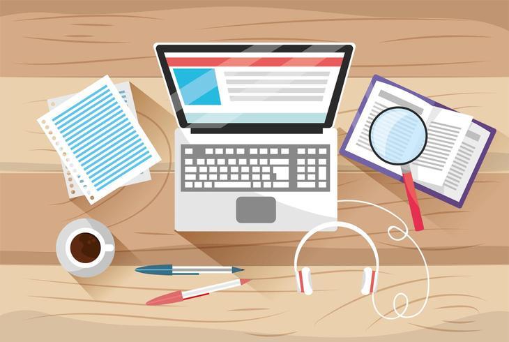 Enseignement en ligne avec technologie informatique et documents vecteur
