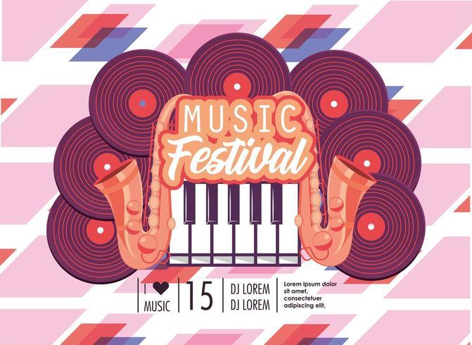 discothèques avec clavier de piano à la fête du festival de musique vecteur