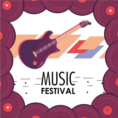 instrument de guitare électrique à la fête du festival de musique vecteur