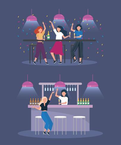 ensemble de femmes avec des lumières et des bouteilles de champagne vecteur