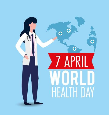 femme avec stéthoscope à la journée mondiale de la santé vecteur