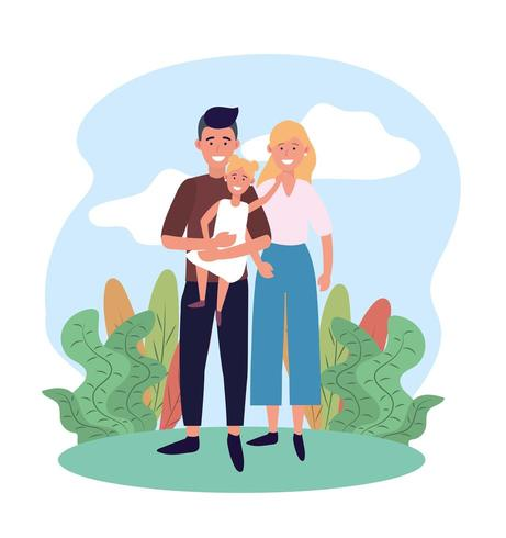 femme et homme couple avec leur jolie fille vecteur