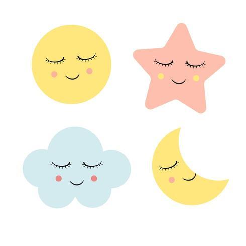 Conception d'icône de nuage, étoile et lune vecteur