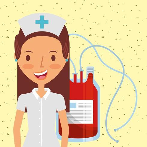infirmière médicale heureux en uniforme et une poche de sang vecteur