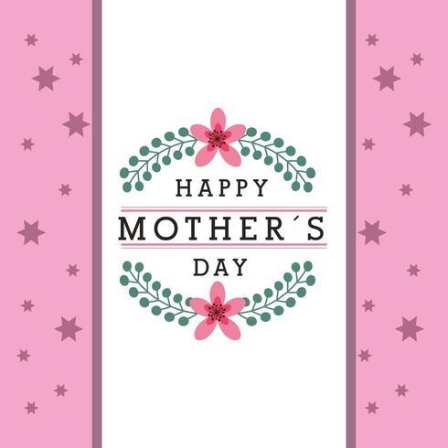 bannière de la fête des mères avec des fleurs et motif étoile rose vecteur