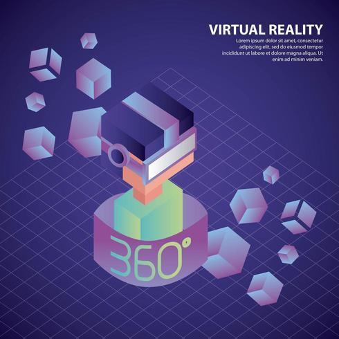 Garçon isométrique de réalité virtuelle à 360 degrés avec des néons et des cubes vecteur
