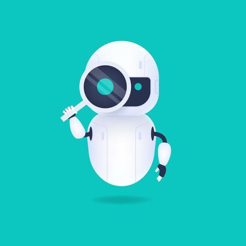 Blanc robot android amical regardant à travers la loupe vecteur