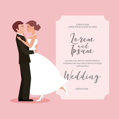 mariée et le marié leur première carte de mariage de danse vecteur