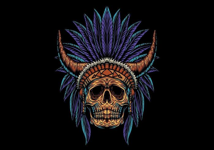 crâne indien avec des cornes vecteur