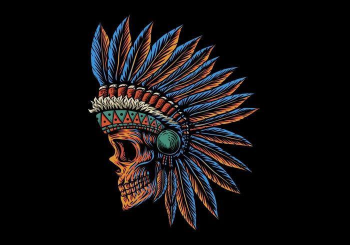 tête de crâne indienne en position latérale vecteur