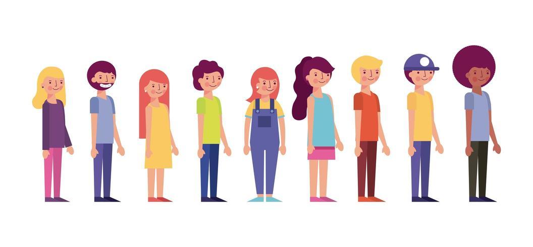 personnes debout souriant des vêtements colorés organisés par stature vecteur