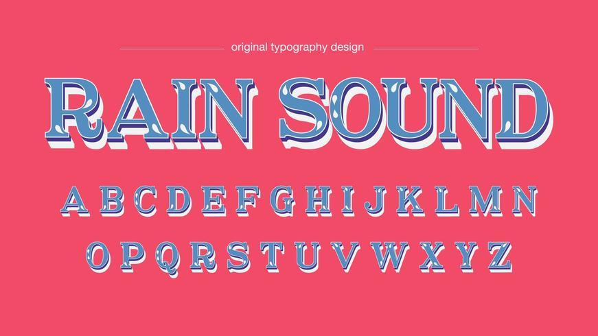 Police artistique personnalisée Blue Floral Serif vecteur