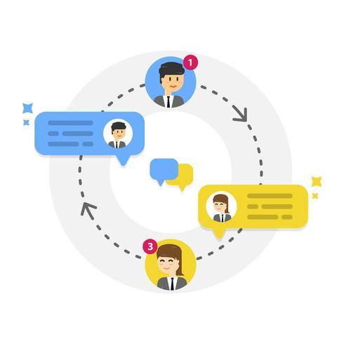 Nouvelles bulles de notification des messages de conversation avec des icônes d'utilisateur vecteur