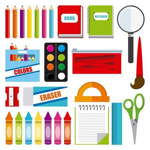 articles de fournitures scolaires vecteur