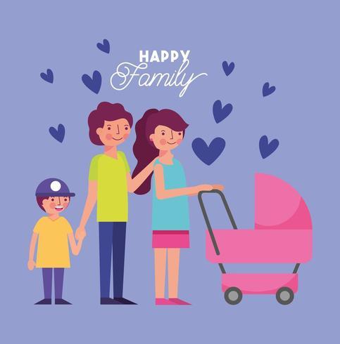famille heureuse avec landau vecteur