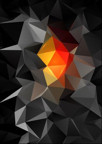 Abstrait noir et orange low poly vecteur