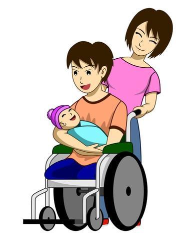 Un homme handicapé avec une nouvelle famille vecteur