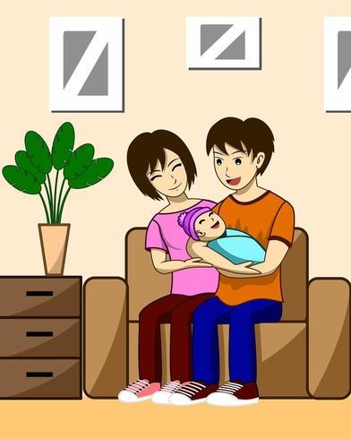 Mari, femme et enfants vecteur