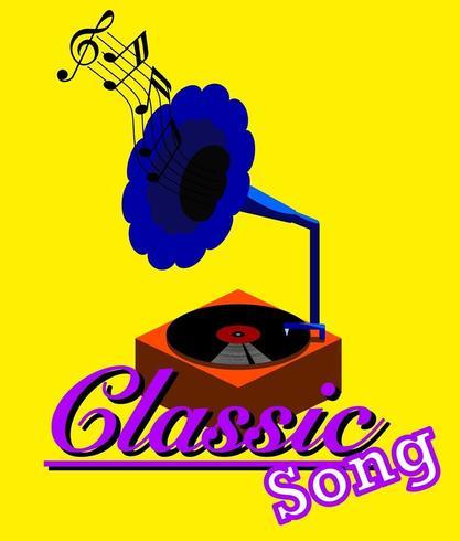 Platine disque ancienne qui joue de la musique classique. vecteur