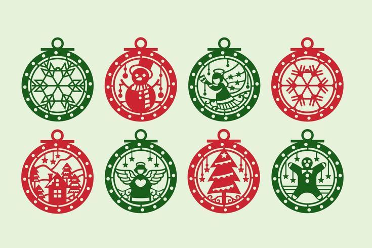 Ensemble d'ornement de Noël rouge et vert vecteur
