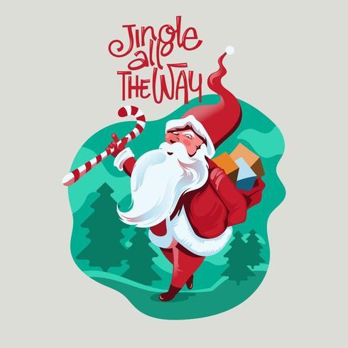 Jungle tout le chemin Santa vecteur