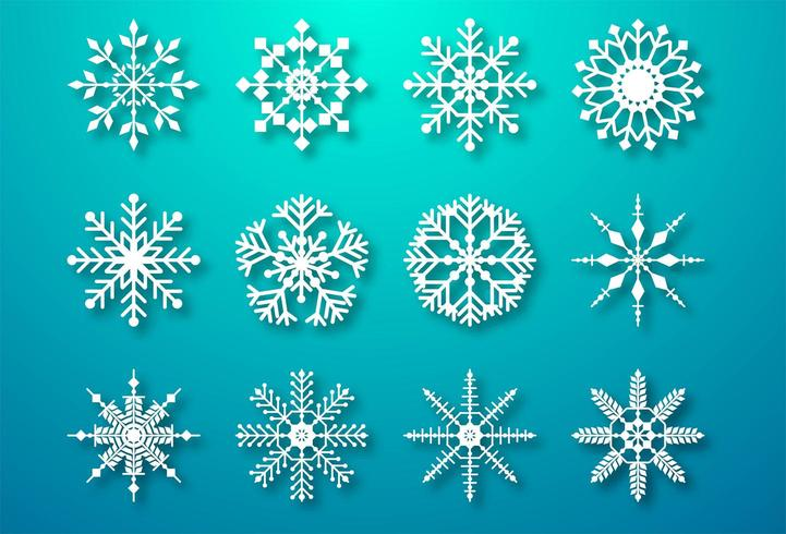 Éléments de flocons de neige de Noël décoratifs vecteur