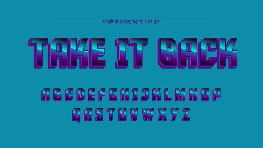 Typographie majuscule sport bleu chrome vecteur