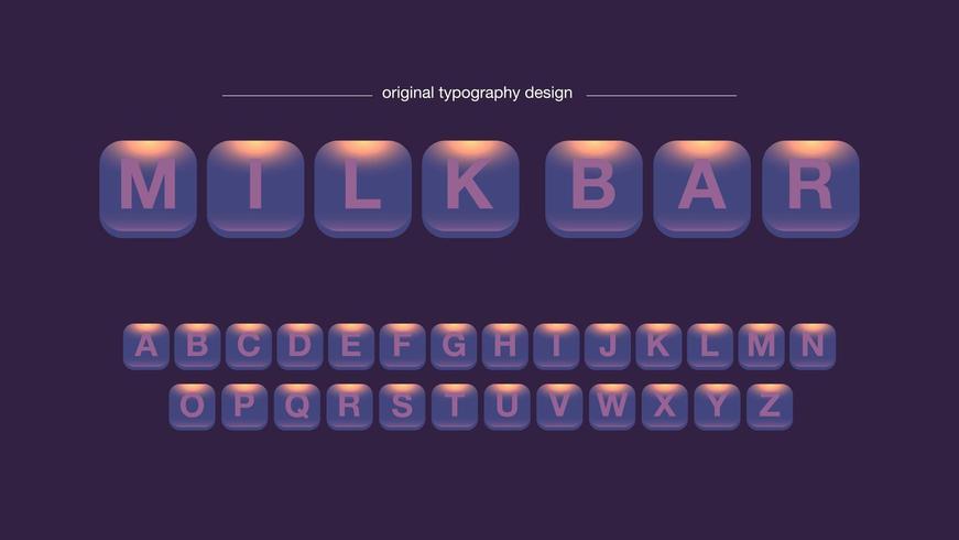 Conception de typographie abstraite arrondie boutons carrés vecteur