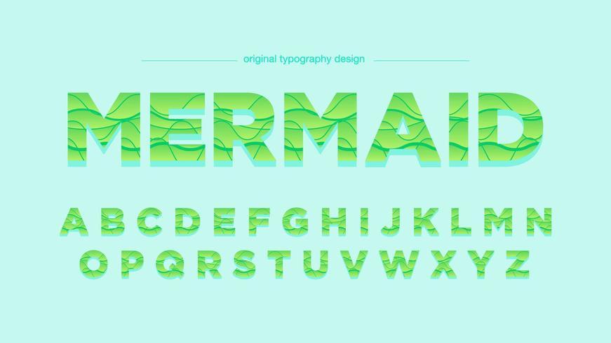 Conception de typographie abstraite vagues vertes vecteur